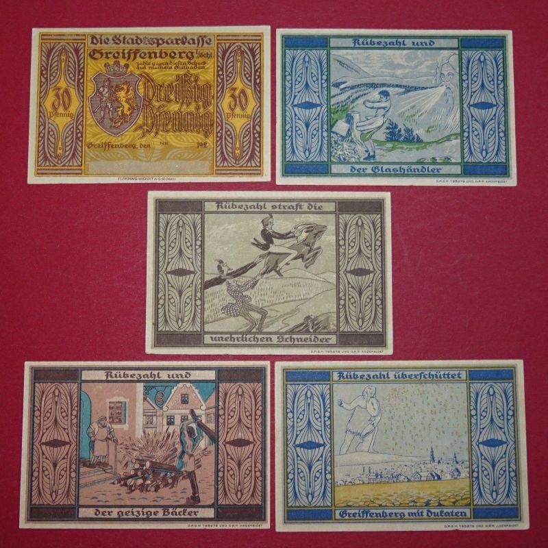 5 x Notgeld Greiffenberg Sparkasse , german emergency money , 5 Scheine kfr/unc