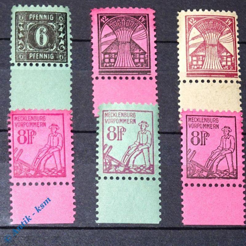 6 x Briefmarken SBZ , Randstücke , Mecklenburg Vorpommern 1945 , mit Varianten