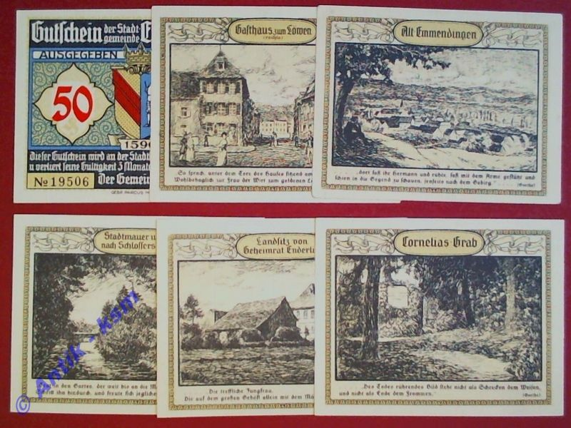 6 x Notgeld Emmendingen , german emergency money , M/G 337.1 , kfr / unc