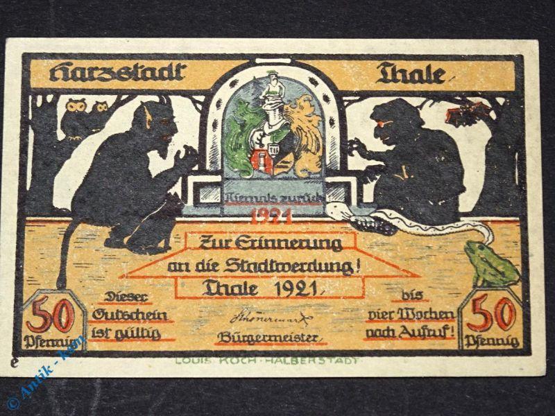 Top Notgeld Thale , 50 Pfennig Schein e mit o. Stadtteil , M/G 1320.15 F kfr/unc