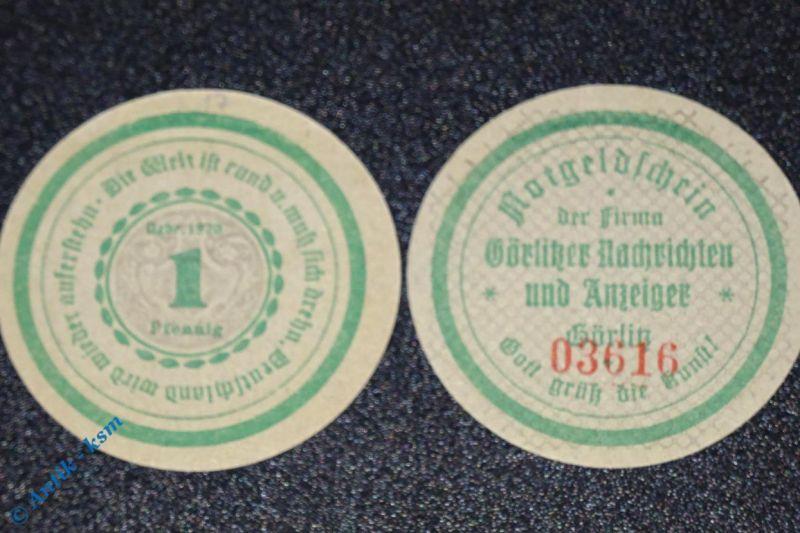 Notgeld Görlitz , Nachrichten & Anzeiger , 1 Pfennig Schein mit Kn , M/G 449.3 b
