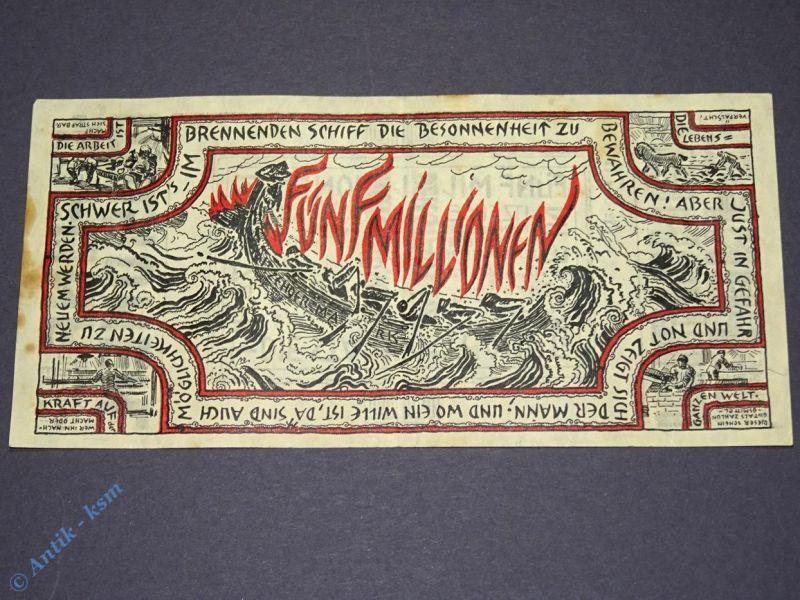 Großnotgeld , Banknote der Stadt Itzehoe , 5 Millionen Mark , vom 24.8.1923