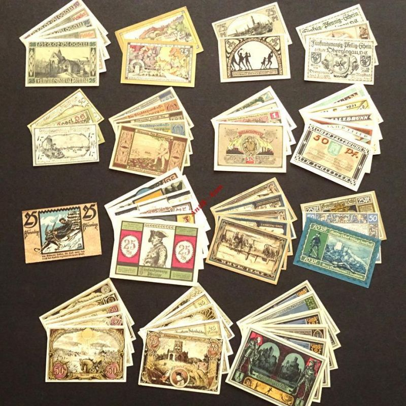 Schlesien Notgeld Lot , 59 Scheine 15 Serien german emergency money , kfr/unc 07
