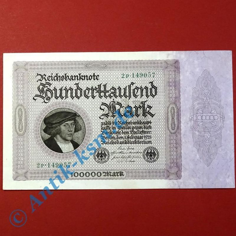 Top Banknote : Ros 82 D : 100.000 Mark von 1923 in --> kassenfrisch / unc <--