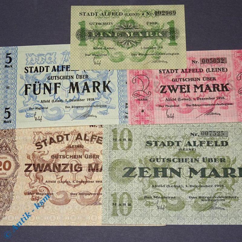 5 x Groß Notgeld Alfeld , 5 Scheine : 1, 2, 5, 10 und 20 Mark , 3 x kfr/unc 2 x