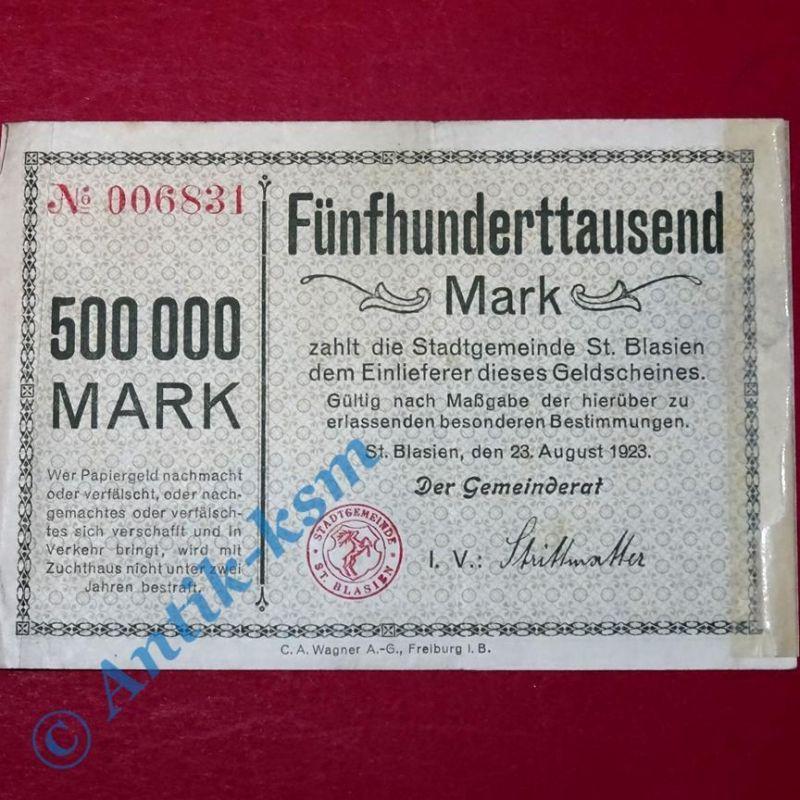 Großnotgeld St. Blasien , Stadtgemeinde , 500.000 Mark Schein vom 23.08.1923 , B