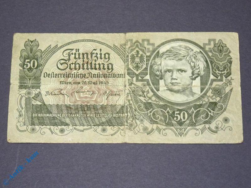 1 x Banknote Österreich , 50 Schilling Schein , vom 29.05.1945 , sehr selten