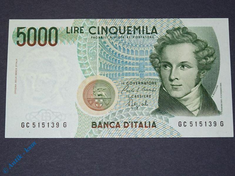1 x Banknote Italien , 5.000 Lire , Bellini , von 1985 , Cinquemila Lire kfr/unc