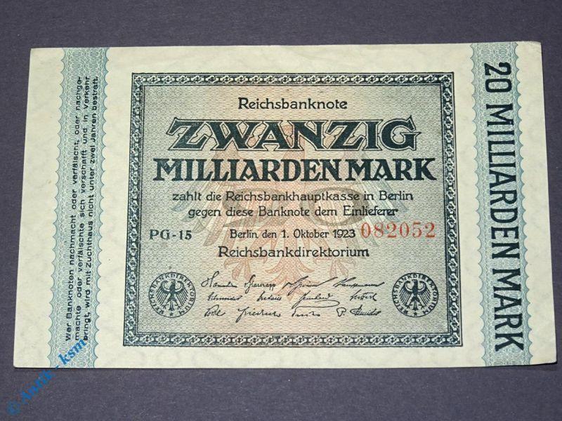 Banknote über 20 Milliarden Mark 1923 , seltenes WZ = Gitter mit 8 , Erhaltung