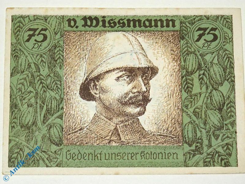 Notgeld Berlin Kolonialpioniere , Schein Nr 2 , falsches Bild , weiß und glatt