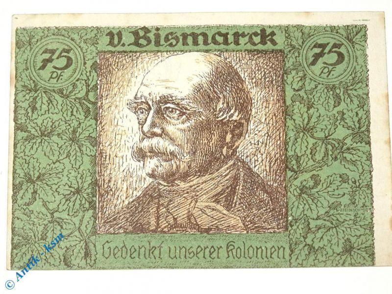 Notgeld Berlin Kolonialpioniere , Schein Nr 3 , falsches Bild , weiß und glatt