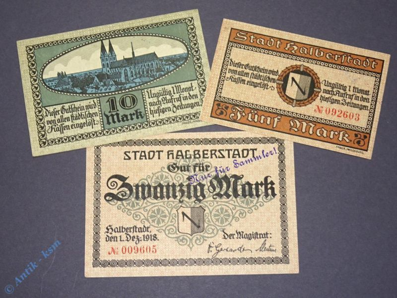 3 x Groß Notgeld der Stadt Halberstadt . 5, 10 und 20 Mark , Zudruck für Sammler