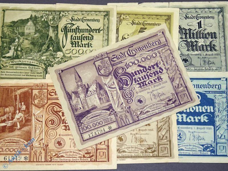7 x Groß Notgeld Banknoten aus Cronenberg , 20.000 bis 50 Millionen Mark , 1923