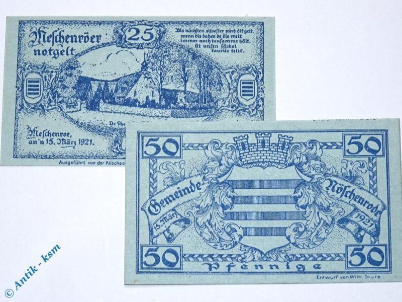 2 x Notgeld Nöschenrode , 2 x german emergency money , M/G 980.3 , kfr / unc
