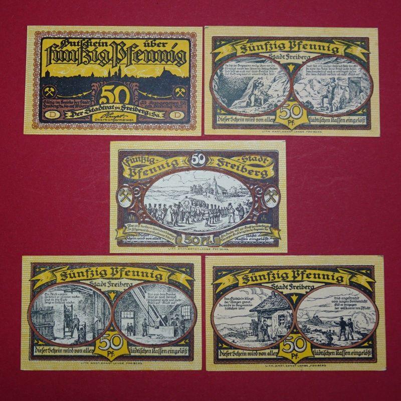 5 x Notgeld Freiberg , Streittag , german emergency money , M/G 379.2  kfr / unc