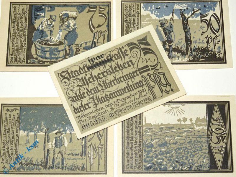 5 x Notgeld Aschersleben , Vs ohne blau , emergency money , M/G 50.7 kfr/unc