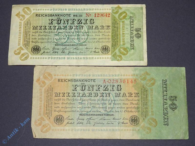 2 Banknoten Inflation : 2 x 50 Milliarden Mark / Reichsmark Varianten von 1923