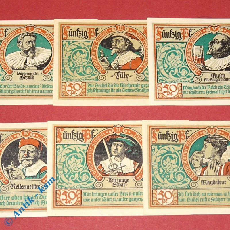6 x Notgeld Rothenburg o.T. , Kn über 100100 , emergency money M/G 1142.3 ,  kfr