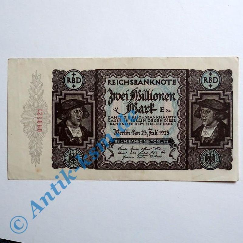 Reichsbanknote über 2 Millionen Mark vom 23.07.1923 , fast kassenfrisch / unc