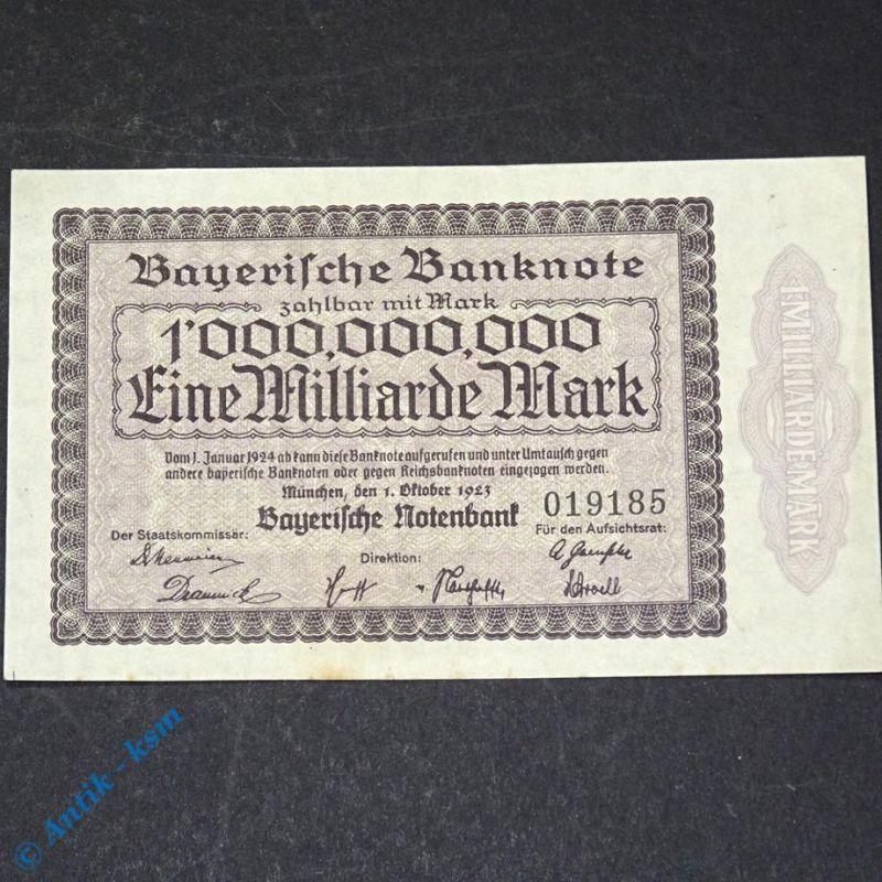 Länder Banknote Bayern , 1 Milliarde Mark, Rosenberg BAY-17 , 732 , von 1923