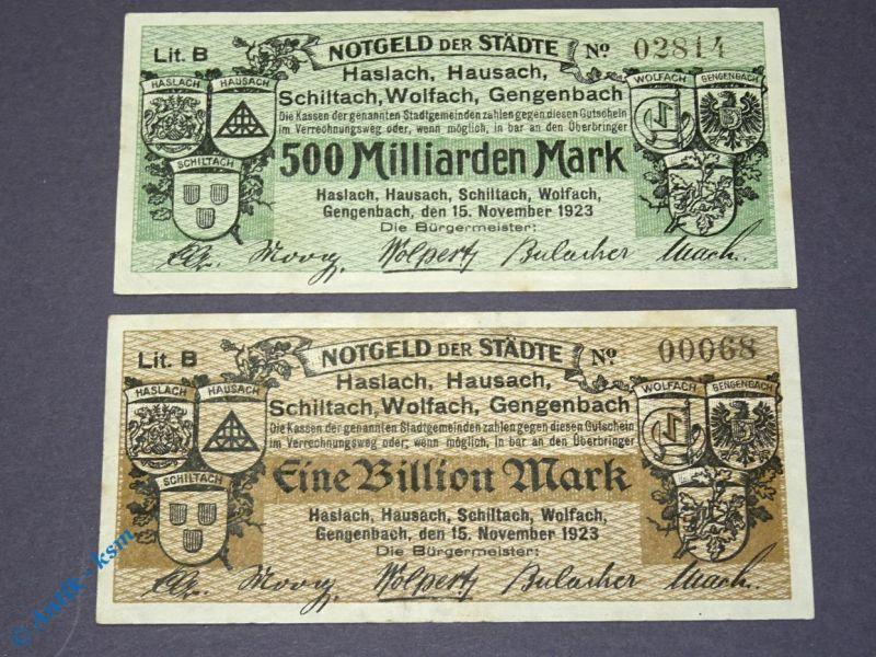 2 Banknoten , 1 Billion und 500 Mia. Mark , Haslach, Hausach, Schiltach ... 1923
