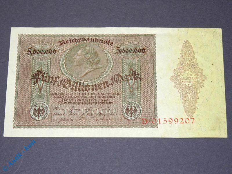 Banknote über 5 Millionen Mark , Reichsmark 1923 , Medaillionschein , Erhaltung