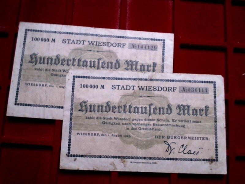 2 x Banknote / Groß Notgeld : 100.000 Mark Stad WIESDORF von 1923