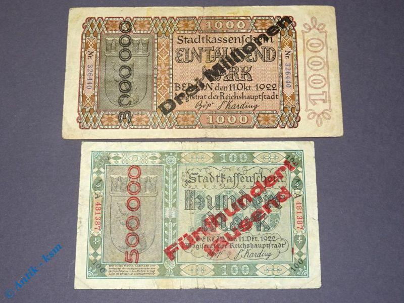 2 x Banknoten Stadt Berlin , 500.000 und 3 Millionen , Überdruck auf 100 + 1000