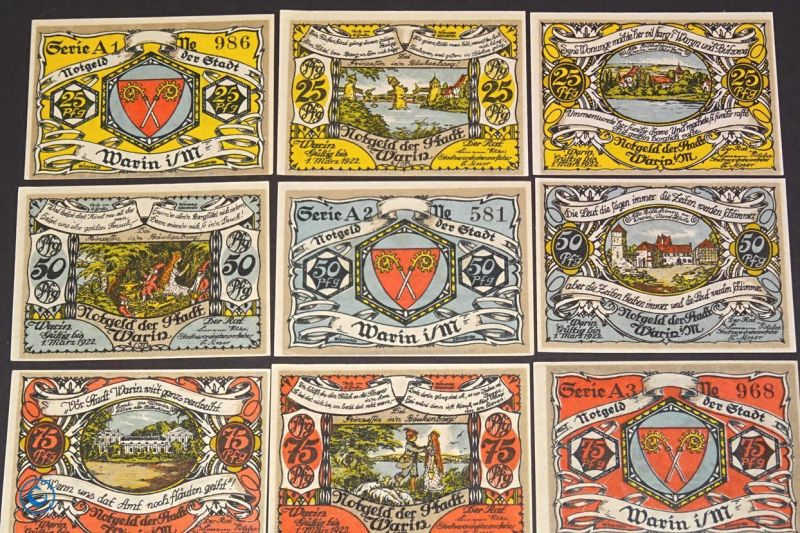 9 x Notgeld Stadt Warin , german emergency money , M/G 1378.1 , kfr/unc 1