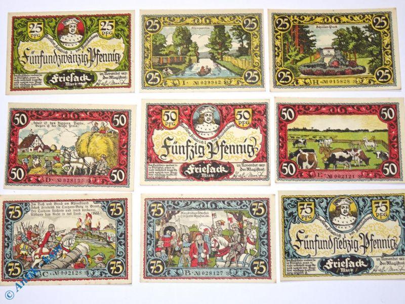 9 x Notgeld Friesack , german emergency Money , 9 Notes , M/G 396.1  kfr/unc 0