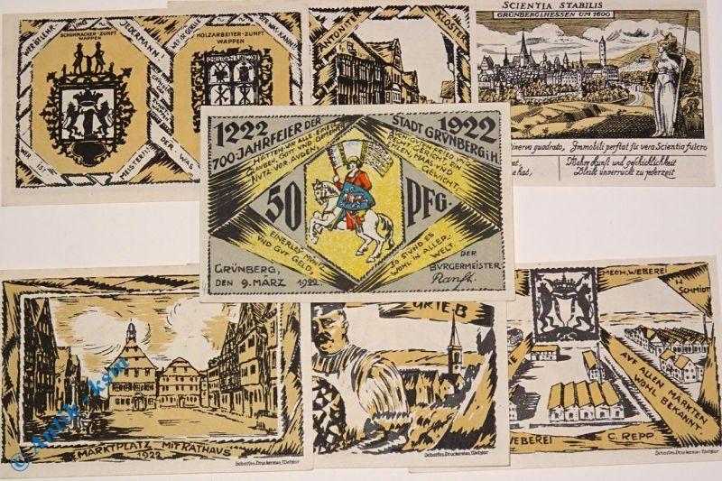 7 x Notgeld Grünberg , german emergency money , M/G 488.1 , 7 Scheine in kfr/unc