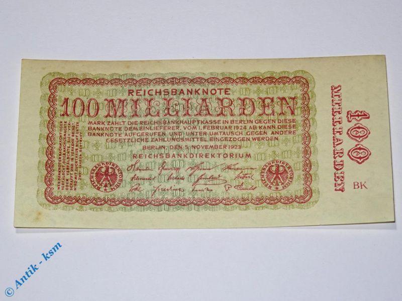 1 x Reichsbanknote 100 Milliarden Mark , Ros. DEU-161 a , Fz = rot , kfr/unc