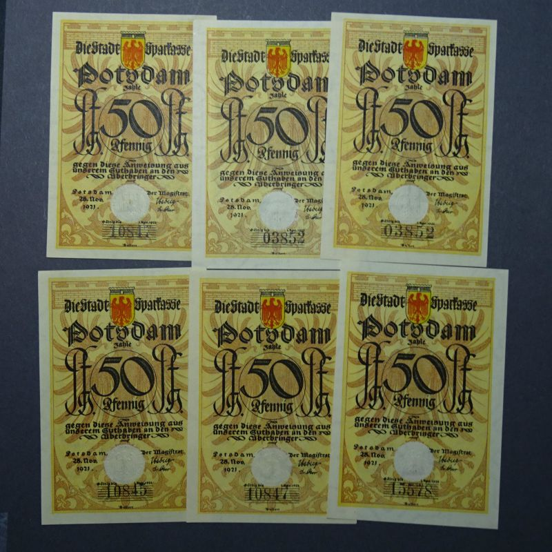 A 6 x Top Notgeld POTSDAM : Wz = Kreuzmäander, Raster = 7 , siehe Tieste -selten