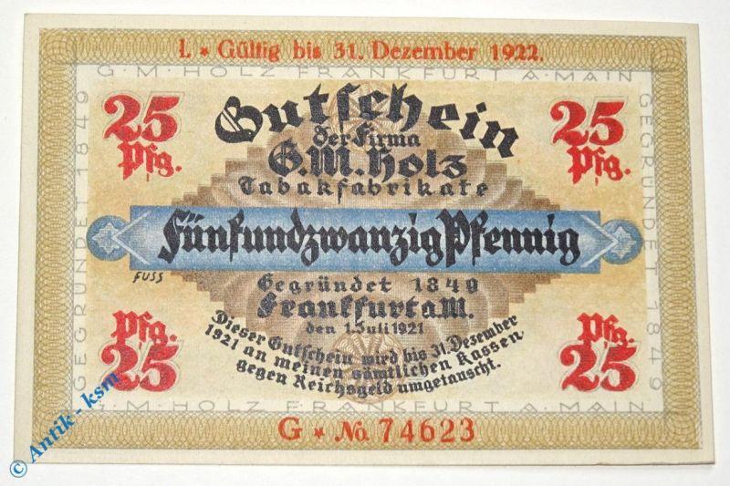 Notgeld Frankfurt , G. M. Holz , 25 Pfennig Schein G , Golem verlängert mit L