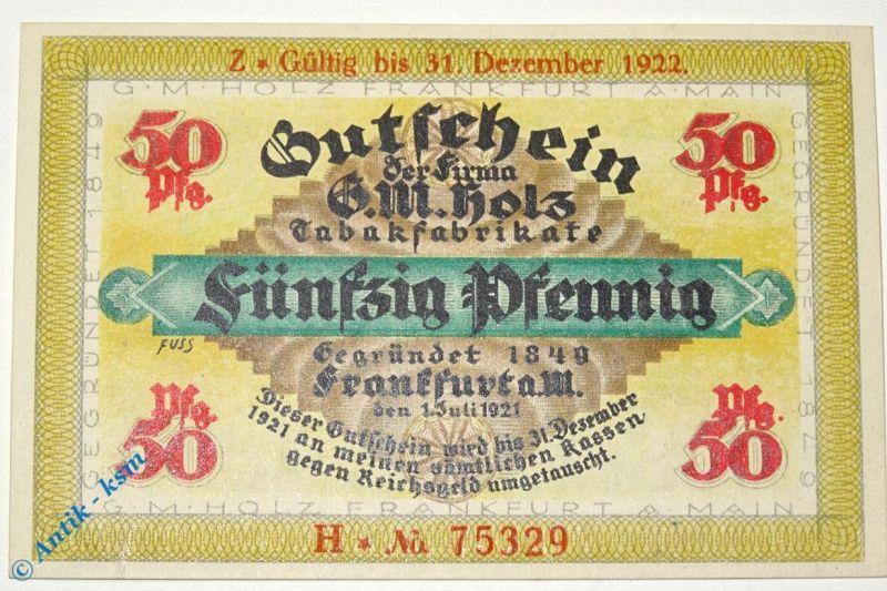 Notgeld Frankfurt , G. M. Holz , 50 Pfennig Schein H , Golem verlängert mit Z