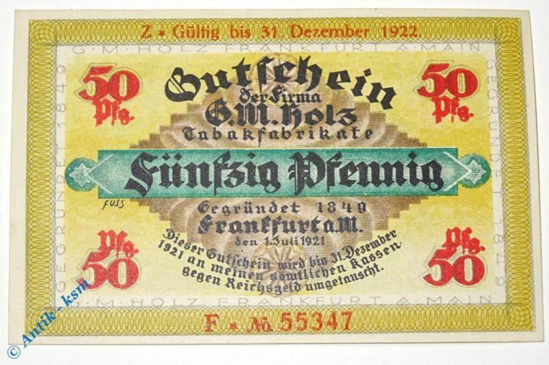 Notgeld Frankfurt , G. M. Holz , 50 Pfennig Schein F , Golem verlängert mit Z