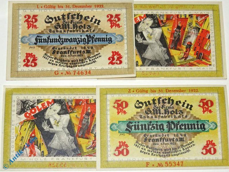 2 x Notgeld Frankfurt , G.M. Holz , 2 x Golem , beide verlängert , M/G 374.4 kfr