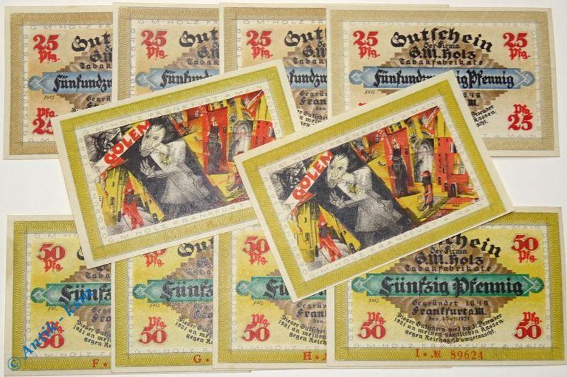 10 x Notgeld Frankfurt , G.M. Holz , Set mit 10 Scheinen , Golem , M/G 374.2 kfr