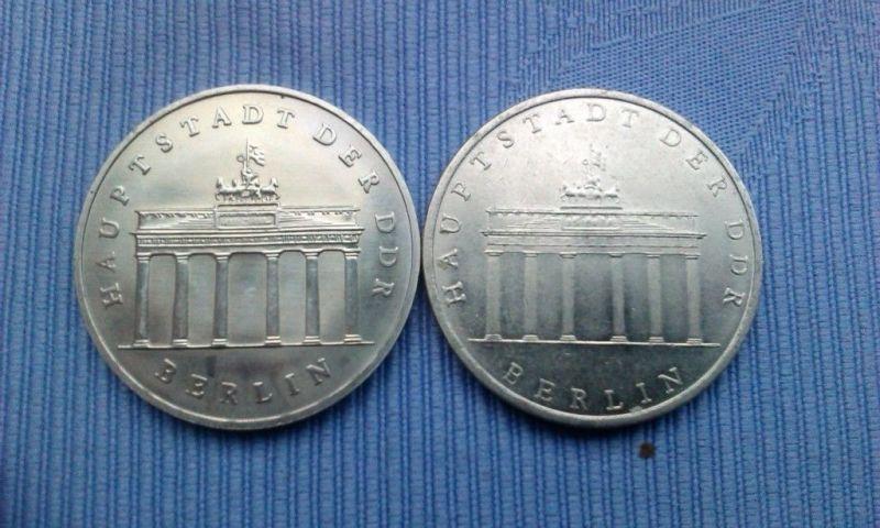 2 x 5 Mark DDR Gedenkmünze Brandenburger Tor 1971 matt & 1987 glänzend L@@K