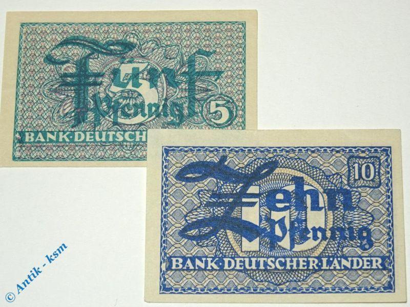 Bank deutscher Länder , 5 und 10 Pfennig von 1948 , WBZ-11 und 12 , Ros 250/51