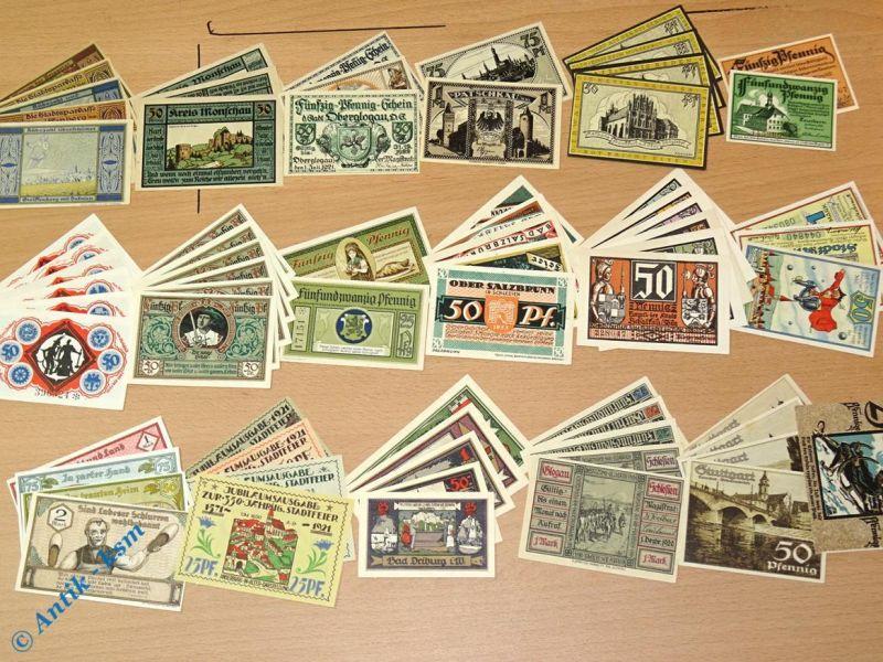 Tolles Notgeld Lot , 70 Scheine , 18 Serien  german emergency money , kfr/unc 15