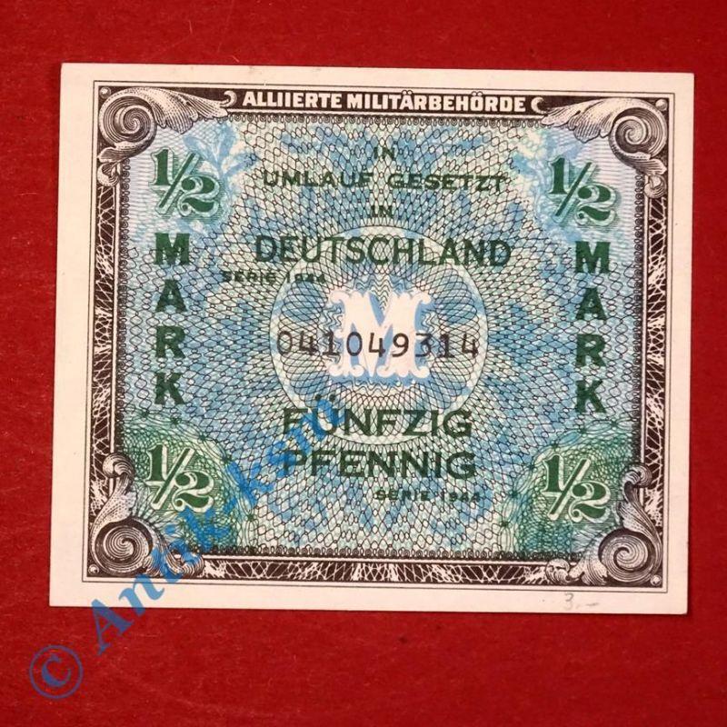 1 x Banknote über 1 halbe Mark , US-Druck, Ros. 200 A , von 1944 , kfr/unc 0