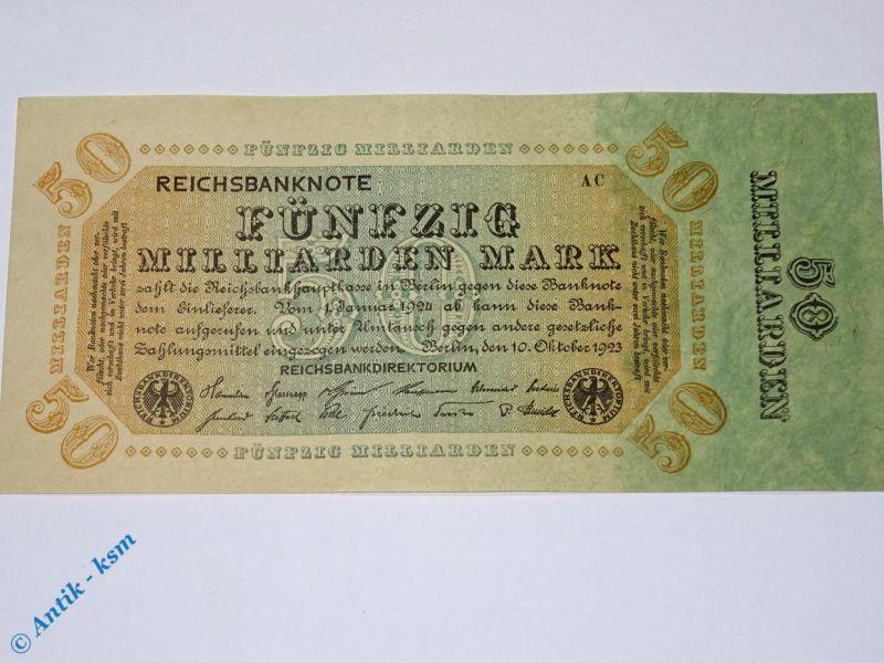 1 x Reichsbanknote 50 Milliarden Mark , Ros. DEU-139 c , Ohne Kennummer  kfr/unc