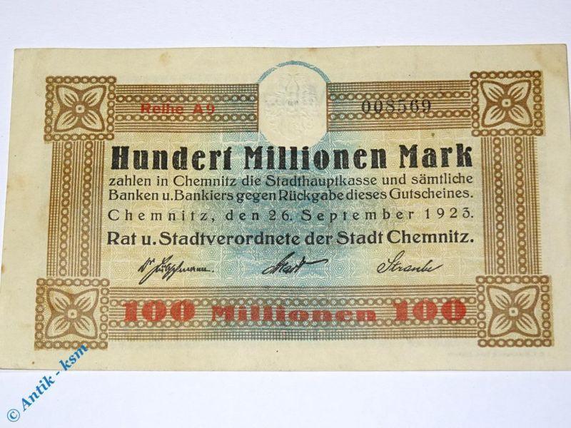 1 x Banknote Stadt Chemnitz , 100 Millionen Mark,   Reihe A 9  ,  fast kfr/unc