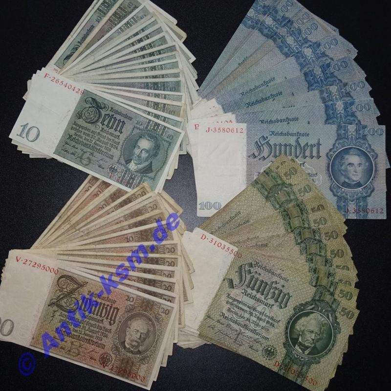 1 Lot = 4 Banknoten deutsches Reich 10,20,50 + 100 Mark / Reichsmark 1929-1935