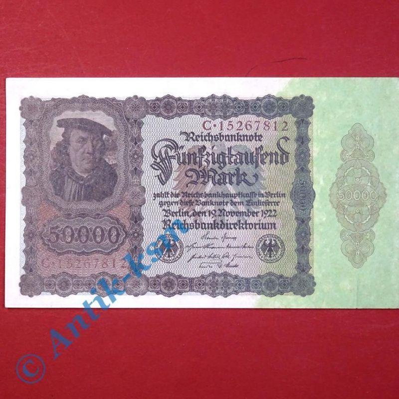 Top Banknote Inflation : Ros. 78 , 50.000 Mark/Reichsmark von 1922, unc/kfr