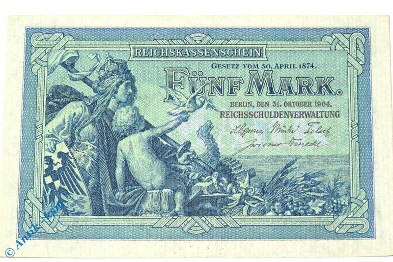 Reichskassenschein über 5 Mark von 1904  Grab. DEU-52 b , Ros 22 , Pick 8 , kfr