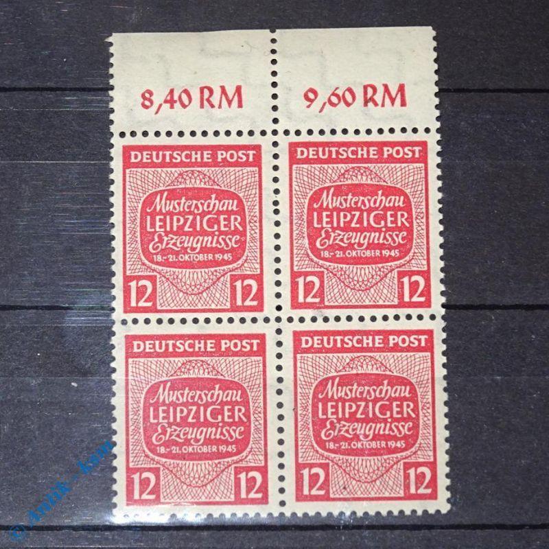 4 er Block Randstück mit Wert ,Briefmarke der SBZ , Sowjetische Zone ,Leipzig 12