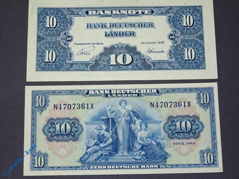 1 x Banknote 10 Mark 1949 Bank deutscher Länder N/X Ros 258 Kopfgeld kfr/unc