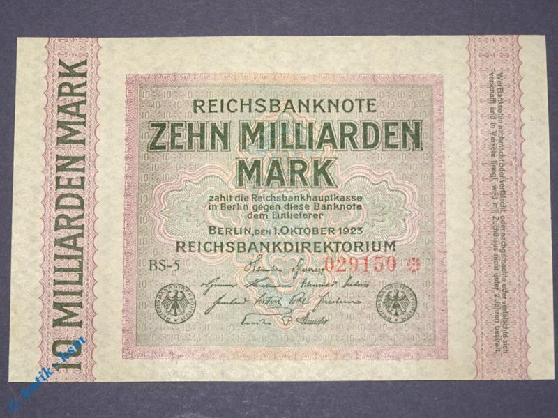 Banknote 10 Milliarden Mark , Reichsmark ,  Wasserzeichen = Rauten , kfr/unc RRR